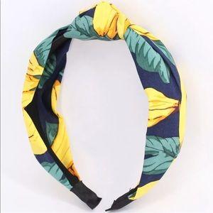 Anthropologie banana print navy headband